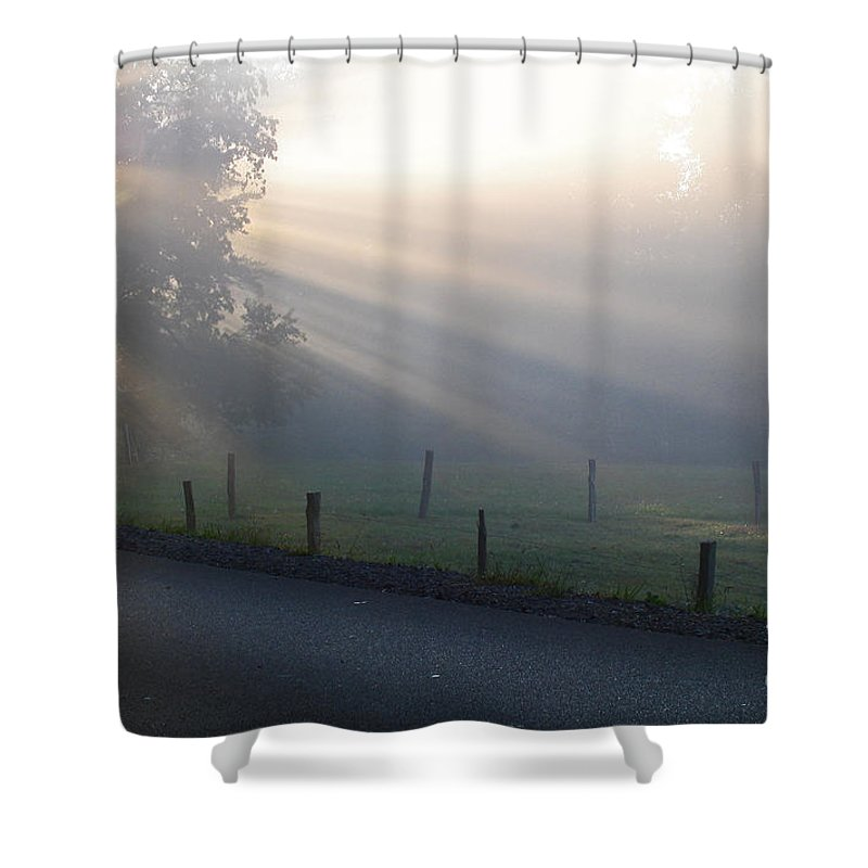 Light Shower Curtain featuring the photograph Hope Is In His Light by Douglas Stucky