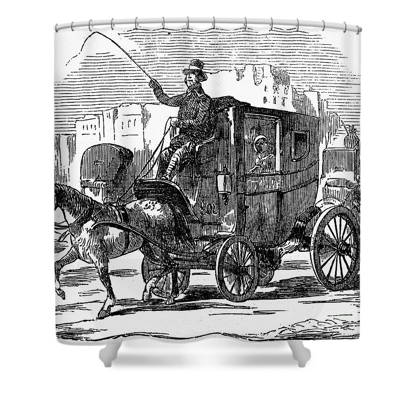 1853 Shower Curtain featuring the photograph Horse Carriage, 1853 by Granger