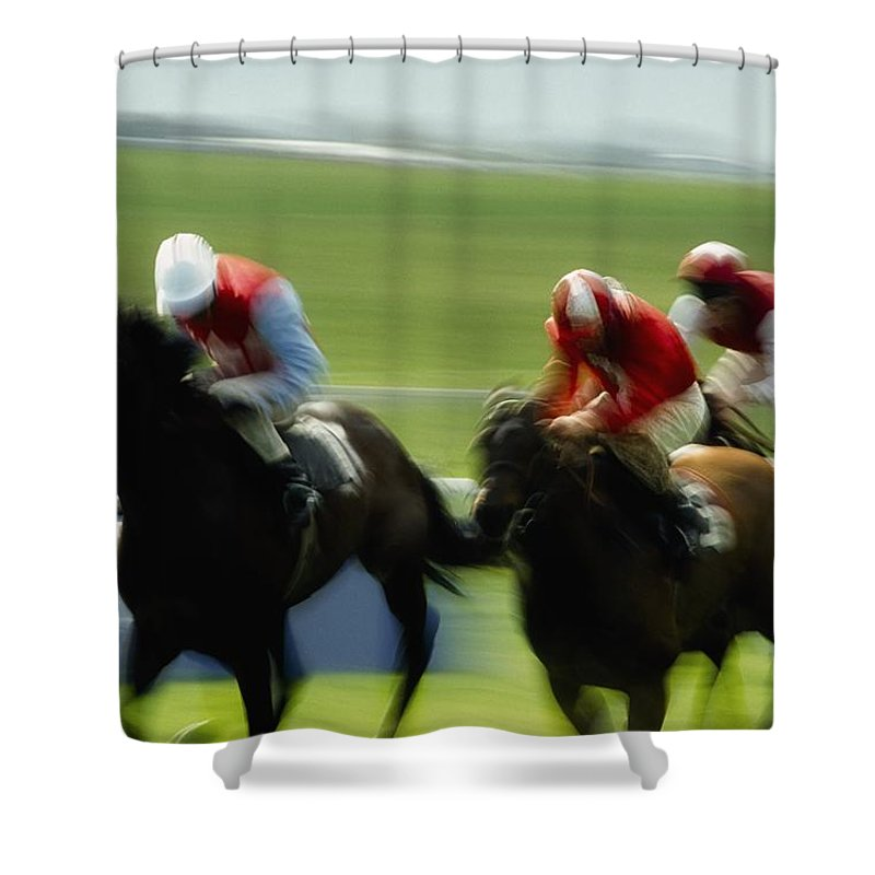 Track Shower Curtain featuring the photograph Horse Racing, Ireland Jockeys Racing by The Irish Image Collection