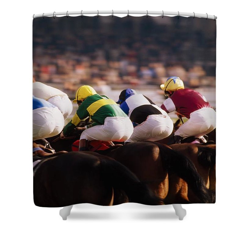 Background People Shower Curtain featuring the photograph Horse Racing, Phoenix Park, Dublin by The Irish Image Collection