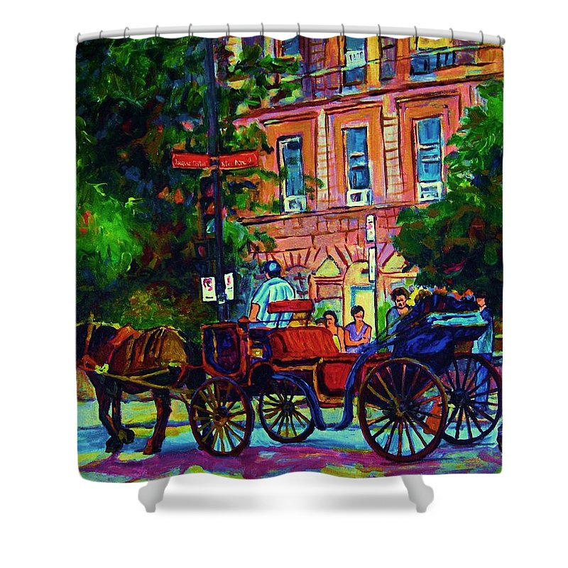 Rue Notre Dame Shower Curtain featuring the painting Horsedrawn Carriage by Carole Spandau