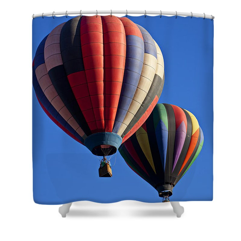 Hot Air Balloon Shower Curtain featuring the photograph Hot Air Ballons Floating High by Garry Gay