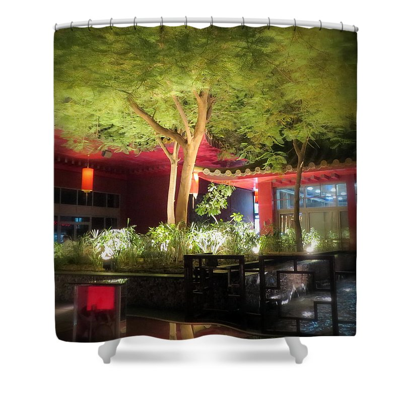 Tree Shower Curtain featuring the photograph Hot Summer Nights by Lene Pieters