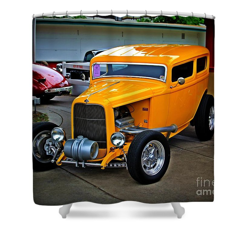 Car Shower Curtain featuring the photograph Hot Yellow by Perry Webster