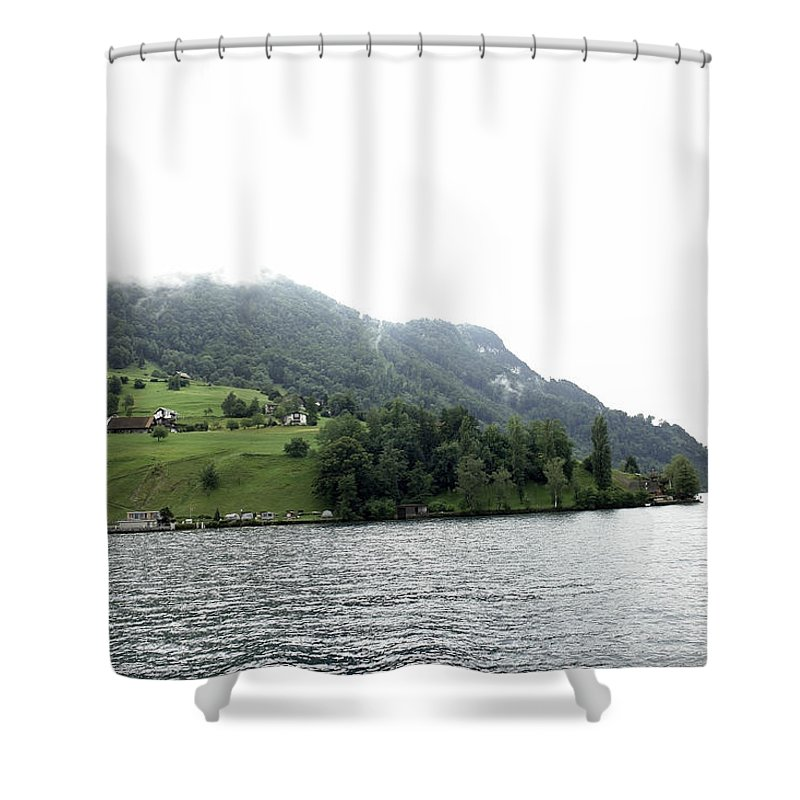 Alps Shower Curtain featuring the photograph Houses On The Slope Of A Mountain Next To Lake Lucerne by Ashish Agarwal