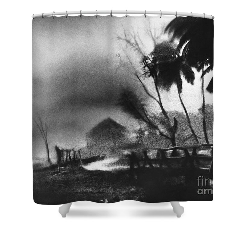 Weather Shower Curtain Featuring The Photograph Hurricane In Caribbean By Fritz Henle And Photo Researchers