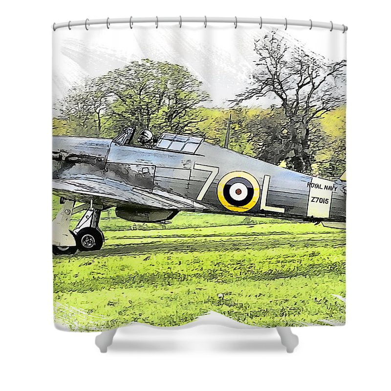 Spitfire Shower Curtain featuring the painting Hurricane by Tom Schmidt
