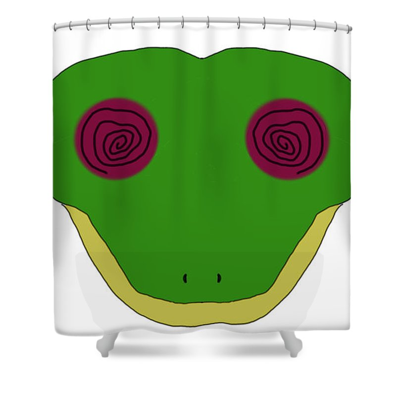 Impressionist Shower Curtain featuring the digital art Hypno Frog by George Pedro