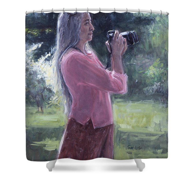 Sarah Yuster Shower Curtain featuring the painting I. Bohorquez by Sarah Yuster