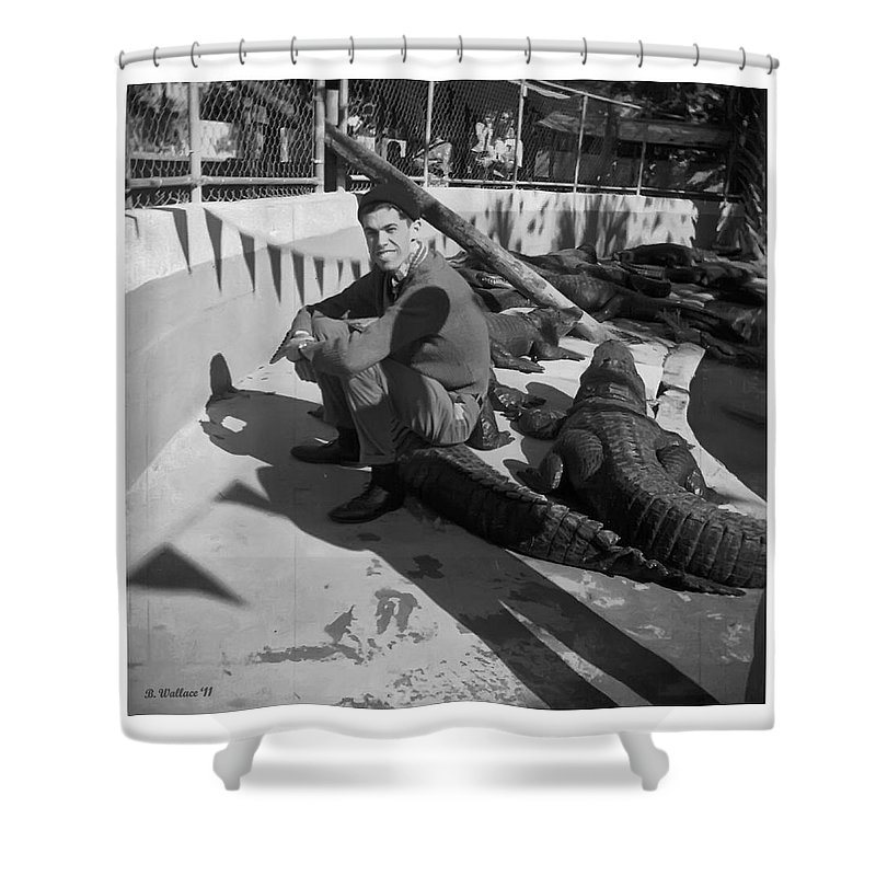 2d Shower Curtain featuring the photograph I Need Some Gator Aid by Brian Wallace