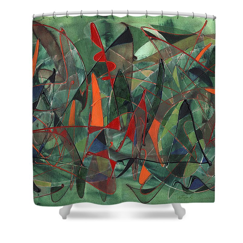 Abstract Shower Curtain featuring the painting In The Hedgerow by Lynne Taetzsch