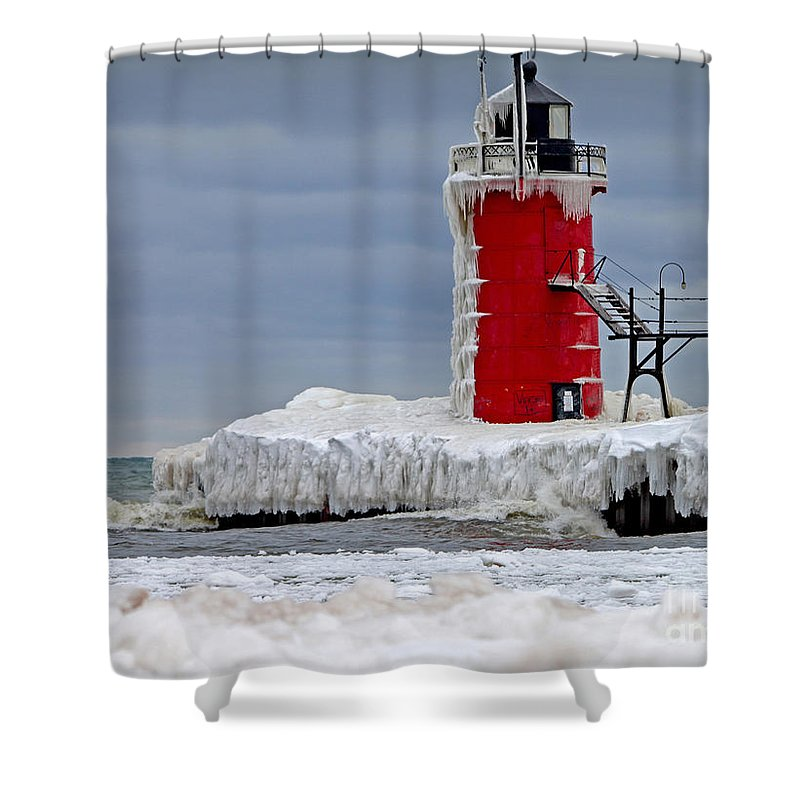 Lighthouse Shower Curtain featuring the photograph Icy South Haven Mi Lighthouse by Jack Schultz