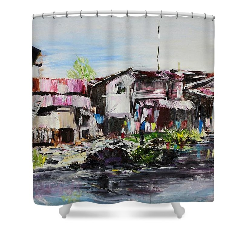 Creek Shower Curtain featuring the painting Ilaje by Uly Ogwah