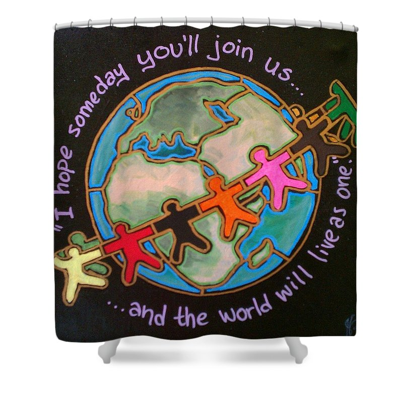 Peace Shower Curtain featuring the painting Imagine by Jim Harris