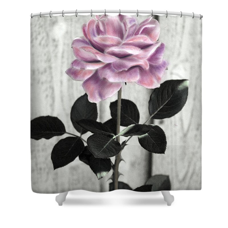 Florals Shower Curtain featuring the photograph In Her Garden by Linda Dunn