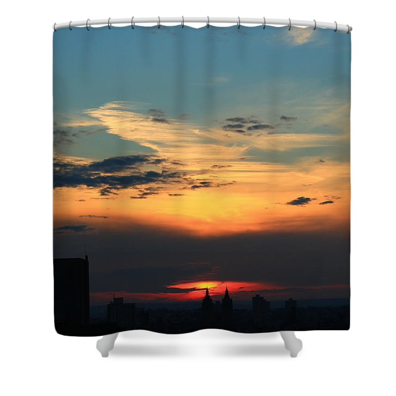Sunset Shower Curtain featuring the photograph In The Clouds by Catie Canetti