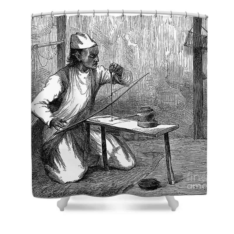 1876 Shower Curtain featuring the photograph India: Pearl Borer, 1876 by Granger