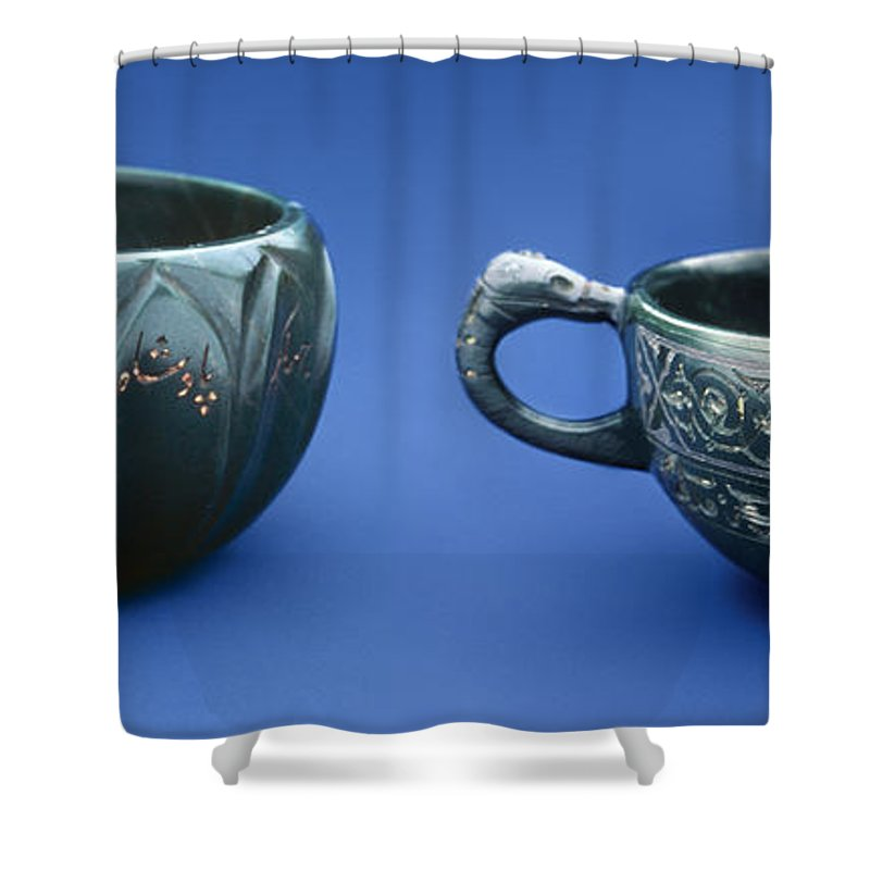 Artifact Shower Curtain featuring the photograph Indian Cups by Granger
