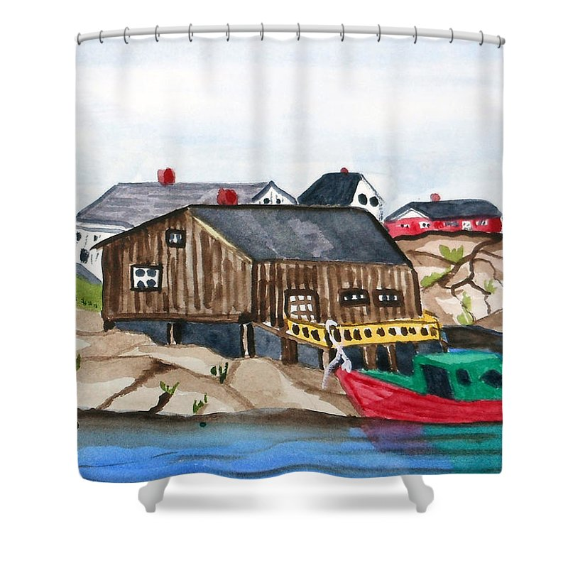 Indian Harbour Shower Curtain featuring the painting Indian Harbour Peggys Cove Nova Scotia by Arlene Wright-Correll