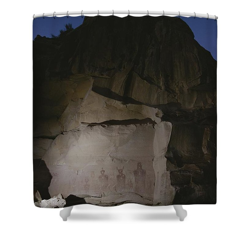 North America Shower Curtain featuring the photograph Indian Pictographs Are Illuminated by Stephen Alvarez