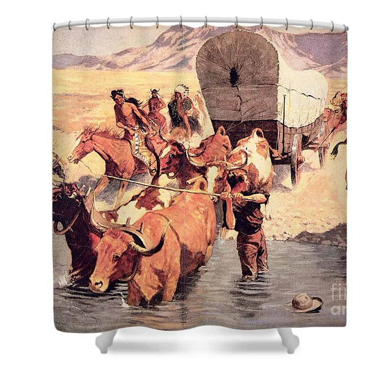 Indians Attacking A Pioneer Wagon Train Shower Curtain for Sale by ...