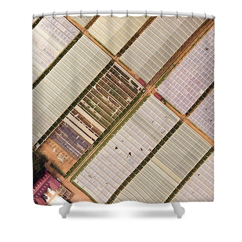 Landscape Shower Curtain featuring the photograph Industrial Hot Houses On Tonde Bay by Michael Fay