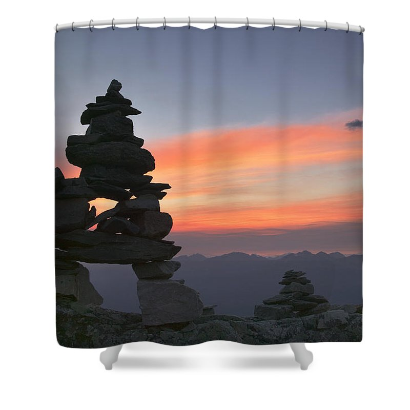 Light Shower Curtain featuring the photograph Innukshuk On The Top Of Whistler by Darwin Wiggett