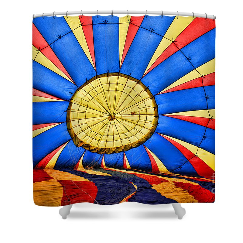 Hot Air Balloons Night Launch Shower Curtain featuring the photograph Inside A Hot Air Balloon by Paul Ward