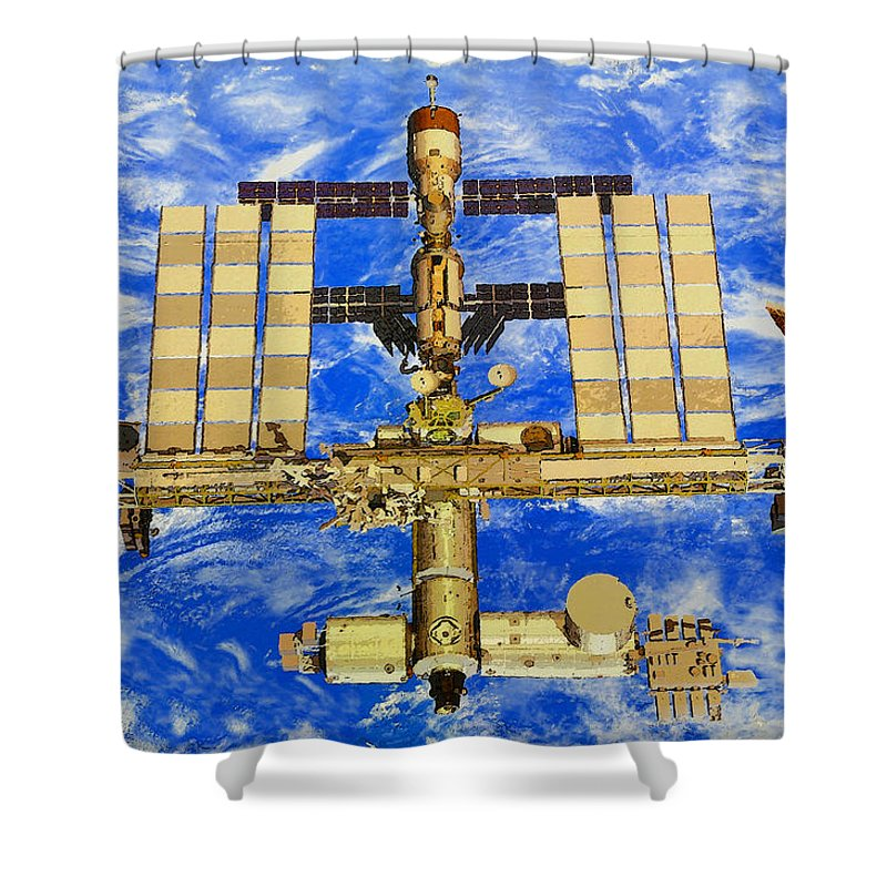 Art Shower Curtain featuring the painting International Space Station by David Lee Thompson