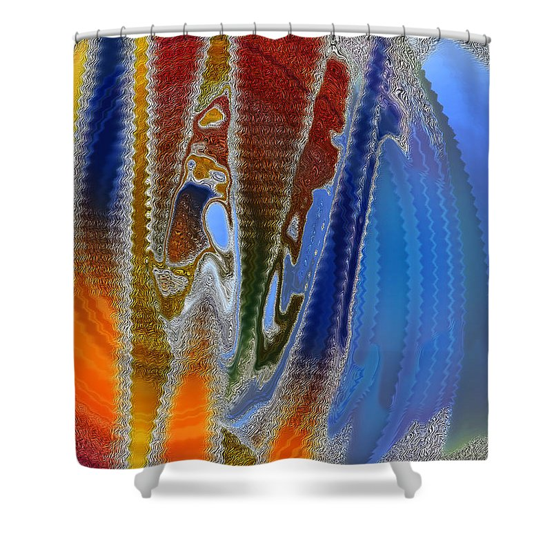 Space Travel Shower Curtain featuring the digital art Interplanetary Romp by Tom Hubbard