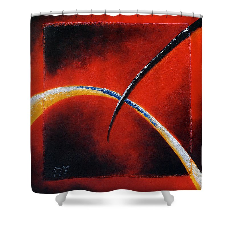 Art Shower Curtain featuring the painting Intersect by Mauro Celotti