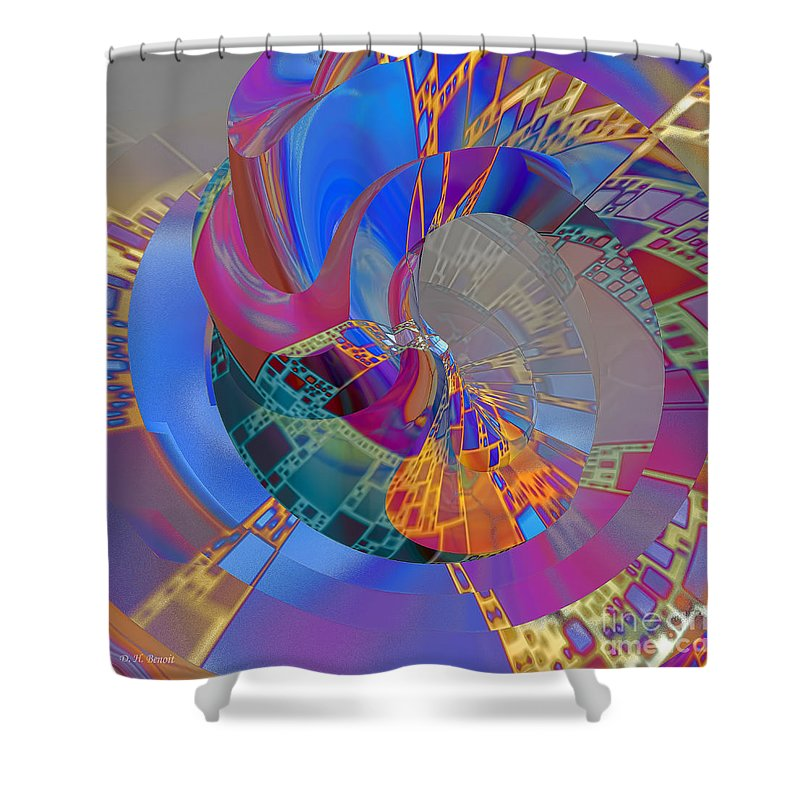 Abstract Shower Curtain featuring the digital art Into The Inner World by Deborah Benoit