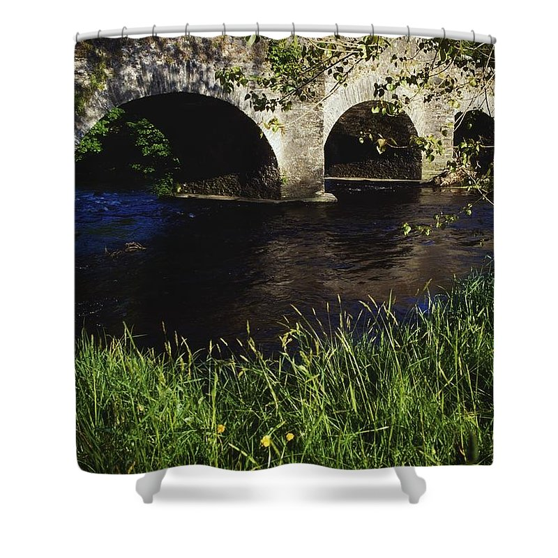 Color Image Shower Curtain featuring the photograph Ireland Bridge Over Water by The Irish Image Collection