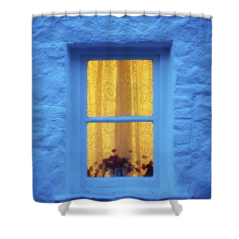 Cottage Shower Curtain featuring the photograph Ireland Cottage Window At Night by Richard Cummins