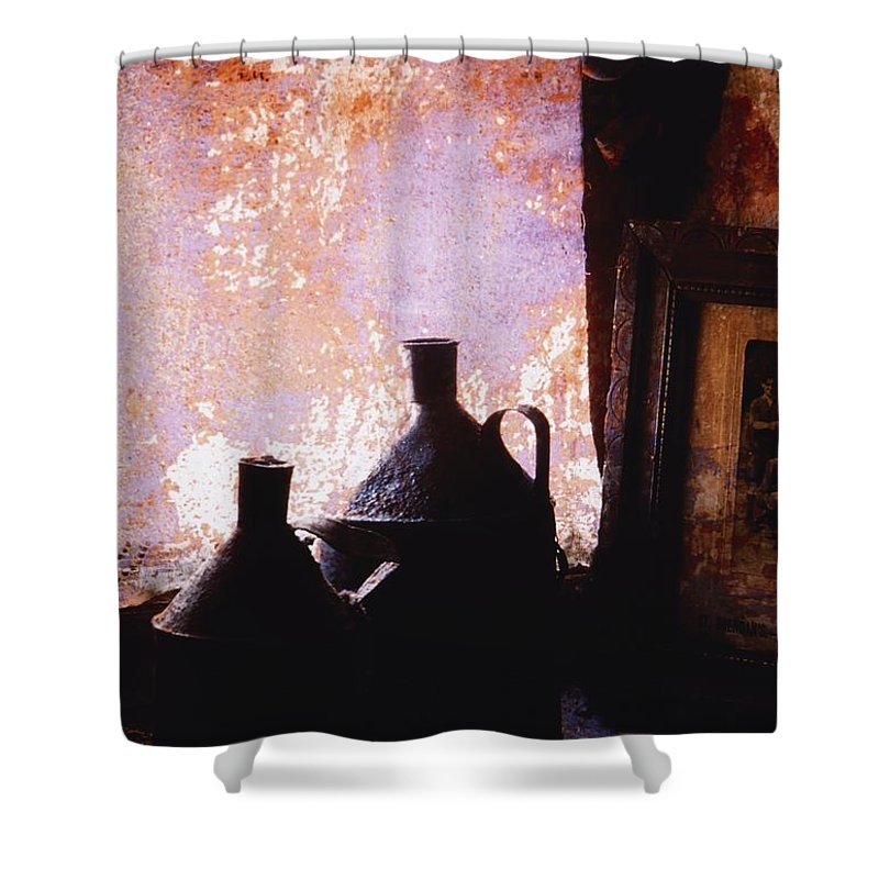 Frame Shower Curtain featuring the photograph Ireland Jars Of Paraffin by Richard Cummins