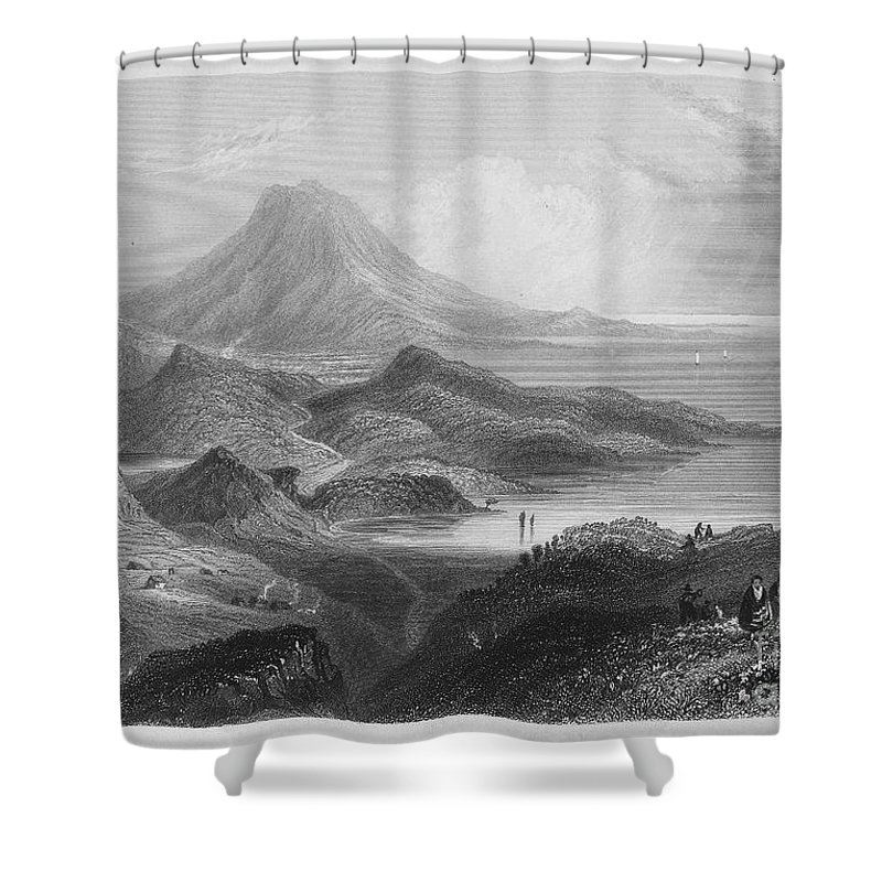 1840 Shower Curtain featuring the photograph Ireland: Lough Conn, C1840 by Granger
