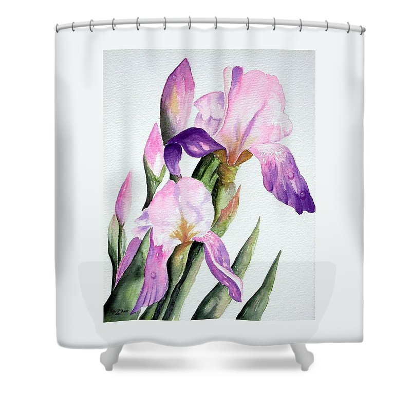 Flowers Shower Curtain featuring the painting Iris by Lyn DeLano