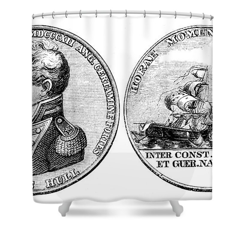 1812 Shower Curtain featuring the photograph Isaac Hull: Medal by Granger