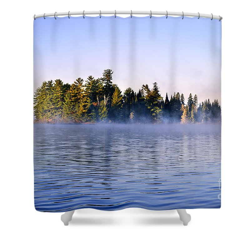 Island Shower Curtain featuring the photograph Island In Lake With Morning Fog by Elena Elisseeva