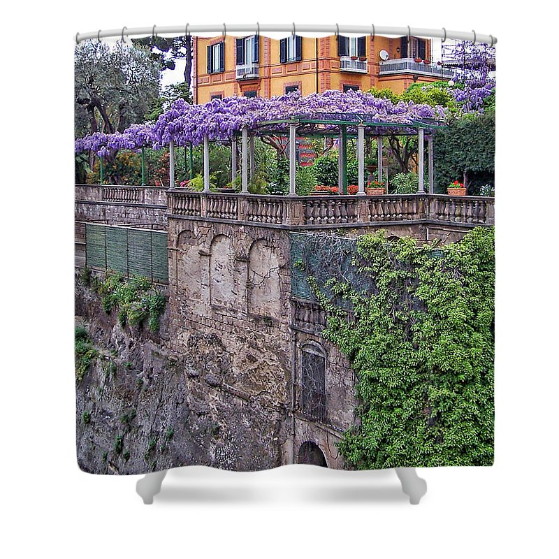 Italy Shower Curtain Featuring The Photograph Italian House With Wisteria Vine By Jack Schultz