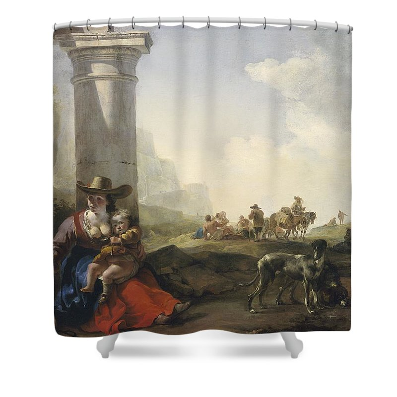 Italian Shower Curtain Featuring The Painting Peasants Among Ruins By Jan Weenix