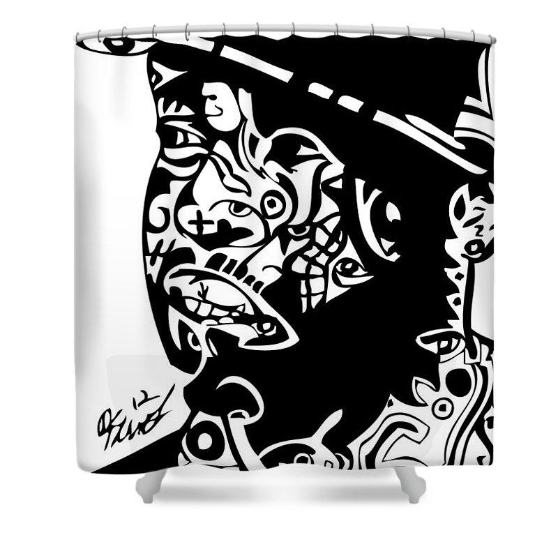 Beats Shower Curtain featuring the digital art J Dilla by Kamoni Khem