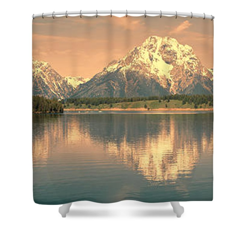 Grand Teton Shower Curtain featuring the photograph Jackson Lake Reflection by Sandra Bronstein