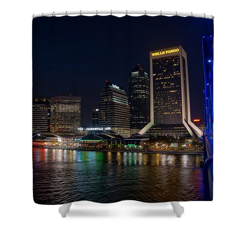 Jacksonville Florida Shower Curtain featuring the photograph Jacksonville Florida Riverfront by Alan Hutchins