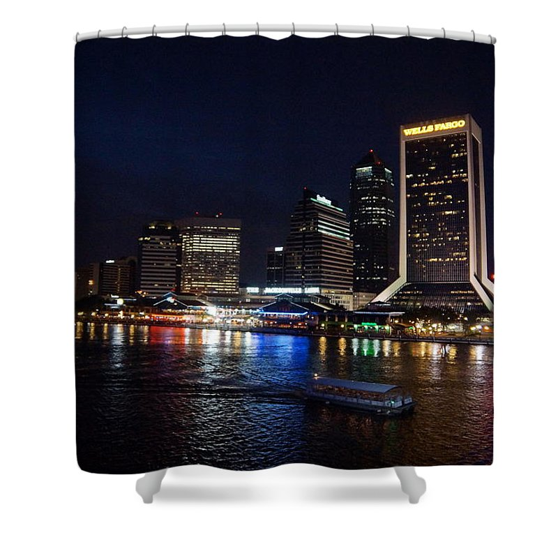 Jacksonville Landing. St Johns River Shower Curtain featuring the photograph Jacksonville Riverfront by Alan Hutchins