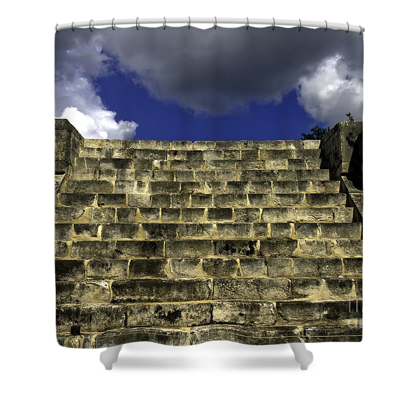 Chichen Itza Shower Curtain featuring the photograph Jaguar Stairway Two by Ken Frischkorn