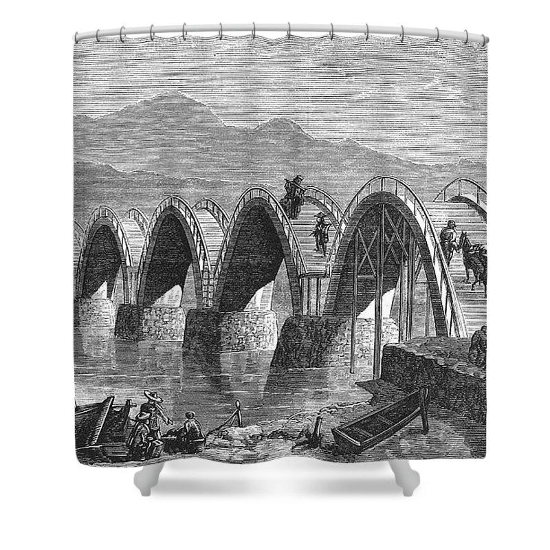 1877 Shower Curtain featuring the photograph Japan: Iwakuni Bridge by Granger