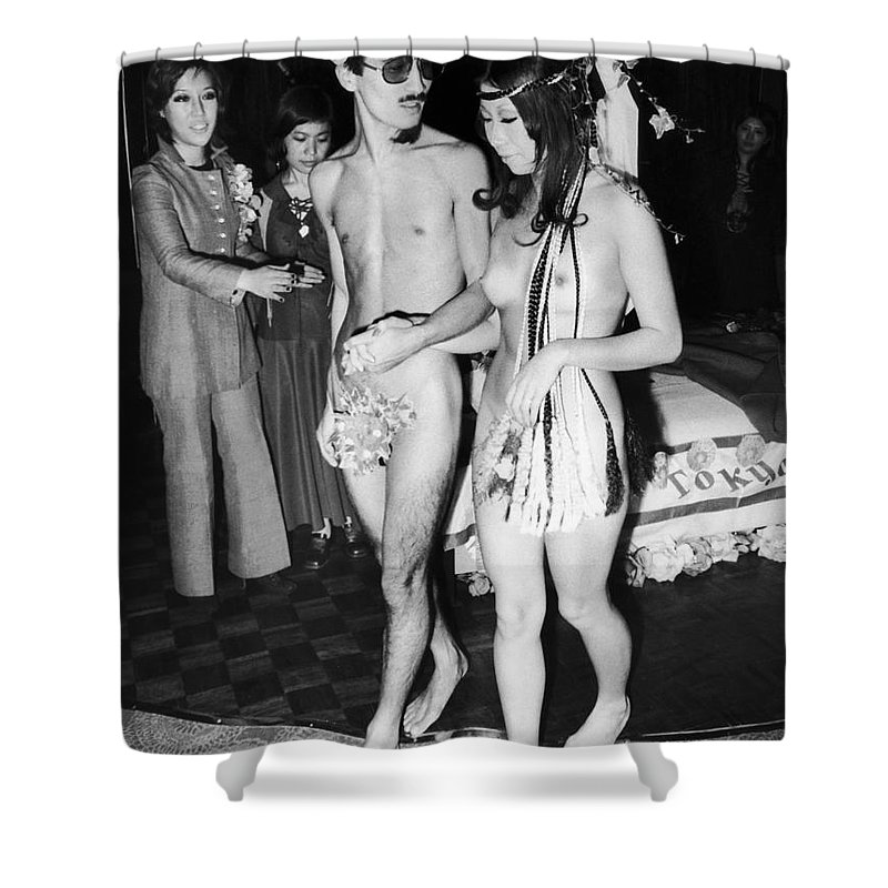 Japan nude wedding 1970 shower curtain for sale by granger 1970 shower curtain featuring the photograph japan nude wedding 1970 by granger junglespirit Gallery