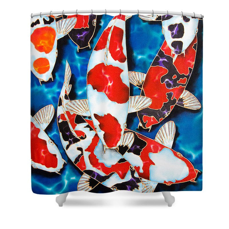 Fish Shower Curtain featuring the painting Japanese Koi Pond by Daniel Jean-Baptiste