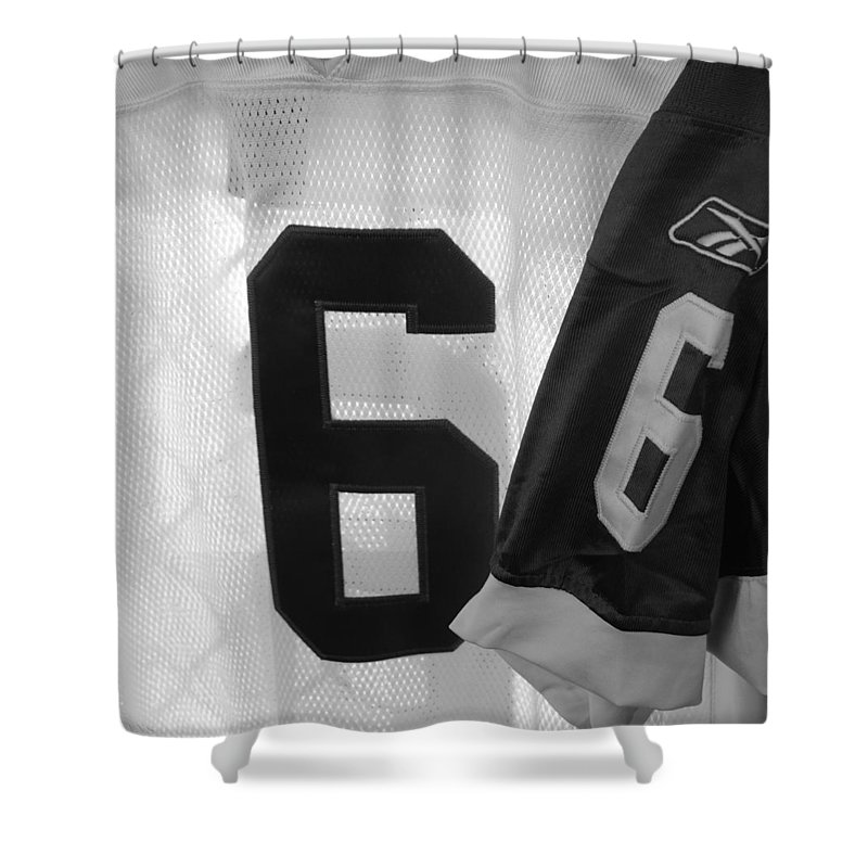 New York Jets Jersey Shower Curtain featuring the photograph Jets Number 6 by Rob Hans